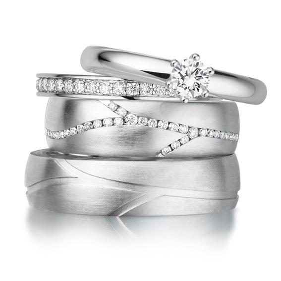 Trauringe Giloy: Platin Set mit Verlobungsring und Vorsteckring